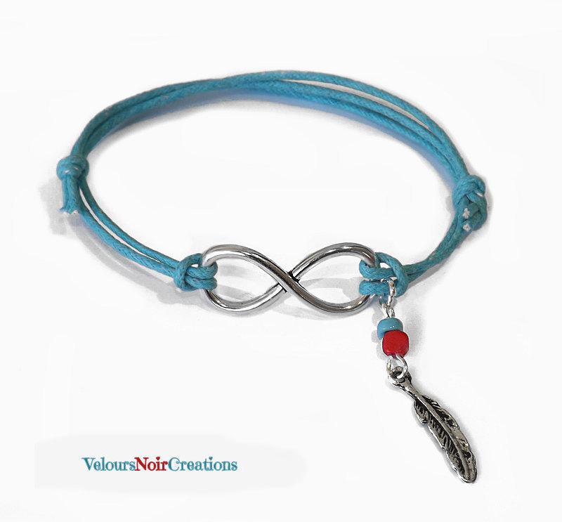 Bracciale con simbolo infinito e piuma nativi americani