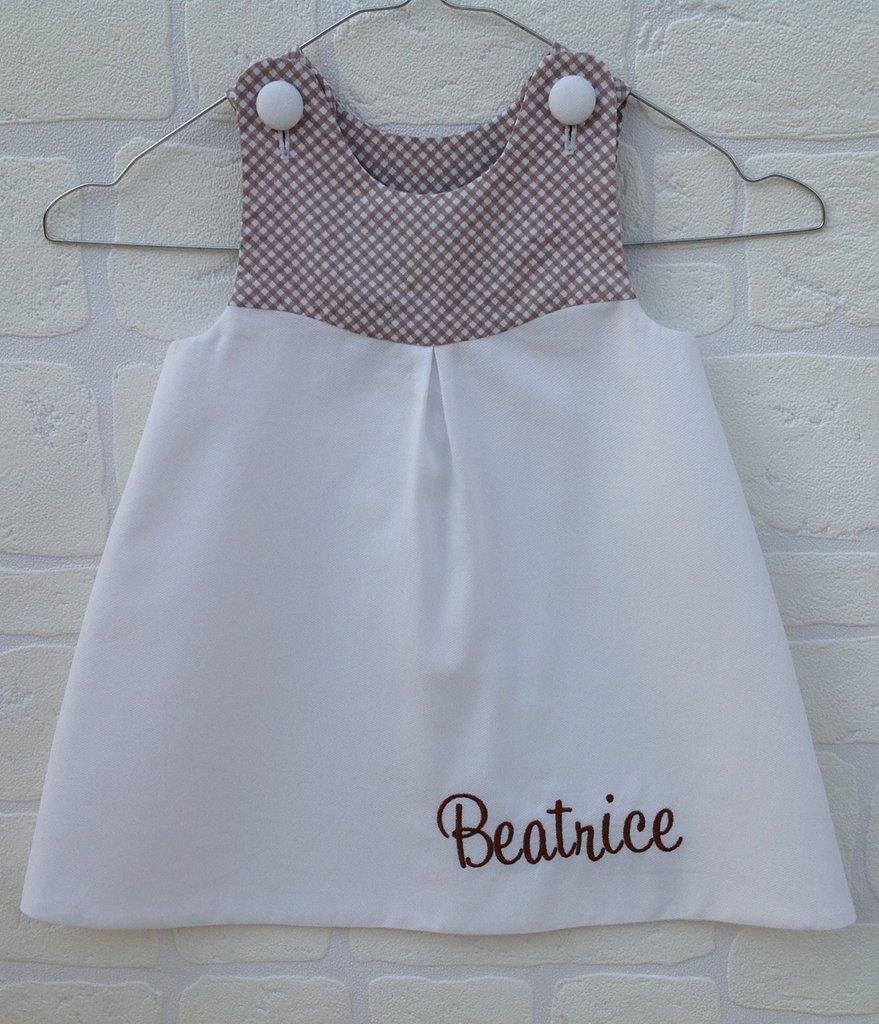 Vestito bimba marrone/bianco personalizzato con nome - Fatto a mano
