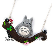 Collana Totoro e nerini del buio - Miniature kawaii su tronco - kawaii - cartoon