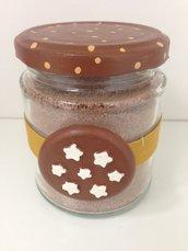 goloso barattolo decorato con biscotto pan di stelle in ceramica, realizzato e dipinto a mano
