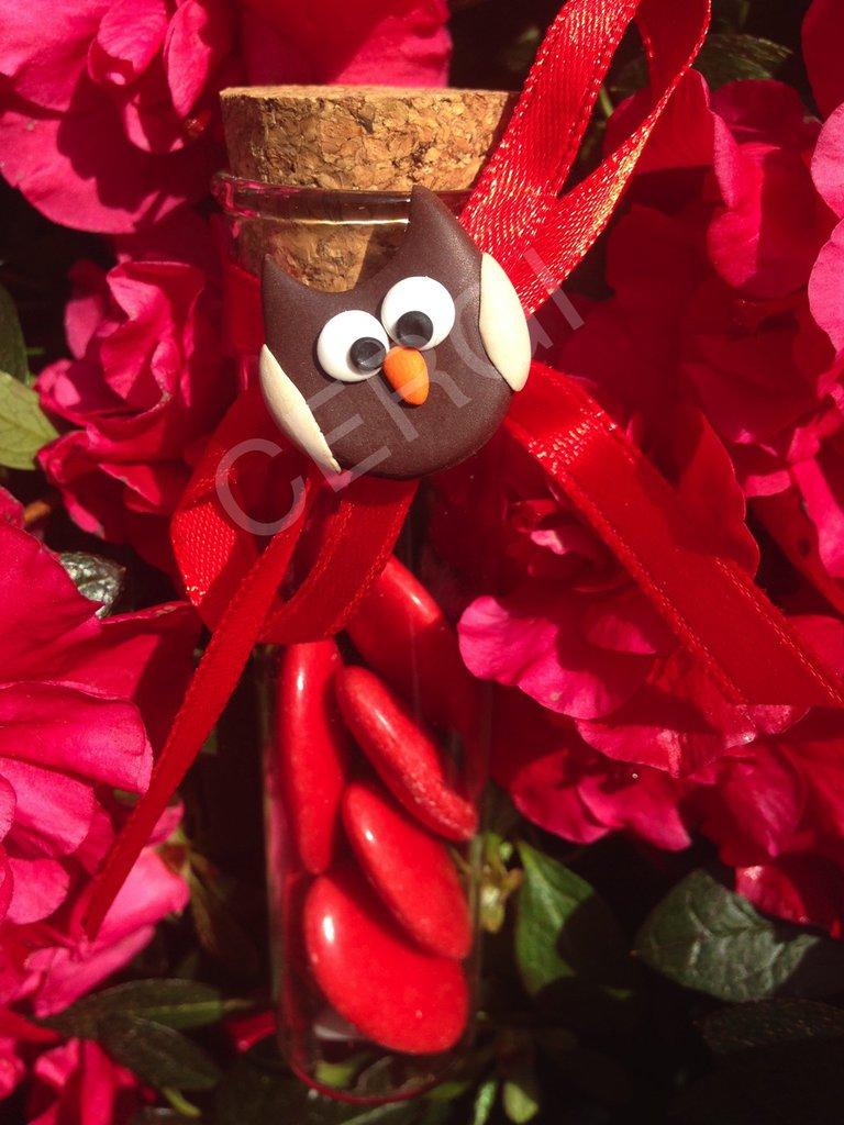 Gufetto portafortuna per Laurea interamente realizzato a mano in pasta FIMO ideale per decorare le vostre bomboniere