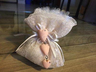 Trilogia di cuori interamente realizzati a mano in pasta FIMO ideali per decorare le vostre bomboniere