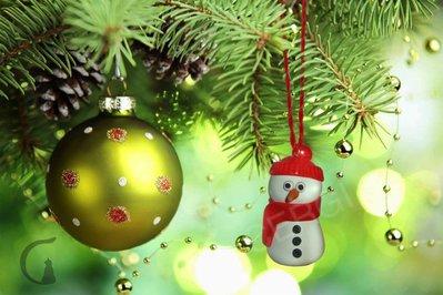 Addobbo Natale: pupazzo di neve. Decoro per Albero o pacchetto regalo