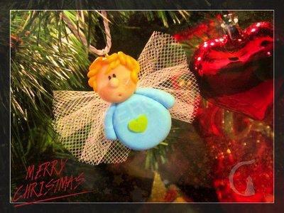 Addobbo Natale: angelo. Decoro per Albero o pacchetto regalo