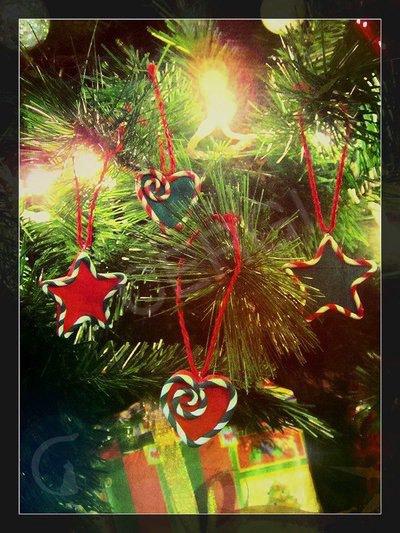 Addobbo Natalizio: stelle e cuori. Decoro per Albero o pacchetti regalo