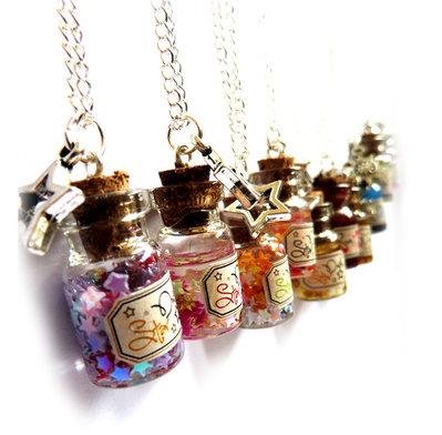 Collana bottiglietta ciondolo bottiglie mare polvere di stelle regalo mini bottiglia