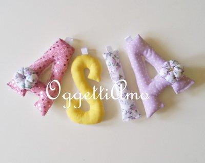 Ghirlanda di lettere di stoffa imbottite 'Asia': una decorazione di cotone per la sua cameretta!