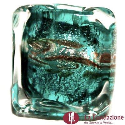 Anello a fascia Cubo Acquario verde in vetro di Murano fatto a mano