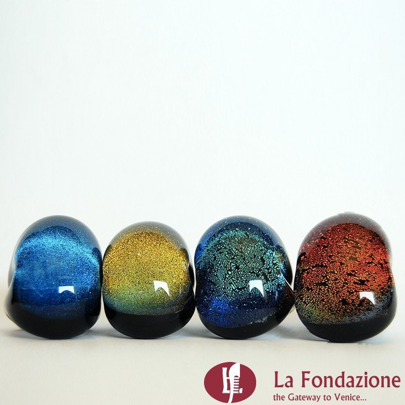 Anello a fascia Dicroico Maxi Scuro azzurro in vetro di Murano fatto a mano