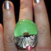 Anello a fascia Argento Rotto verde in vetro di Murano fatto a mano