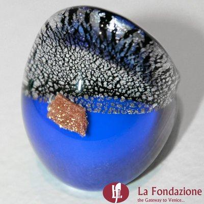 Anello a fascia Argento Rotto blu in vetro di Murano fatto a mano