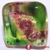 Anello Cubo Acquario Glaciale verde in vetro di Murano fatto a mano
