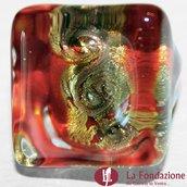 Anello Cubo Acquario Glaciale rosso in vetro di Murano fatto a mano