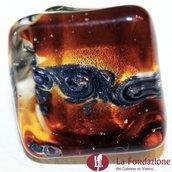 Anello Cubo Acquario Glaciale ambra in vetro di Murano fatto a mano