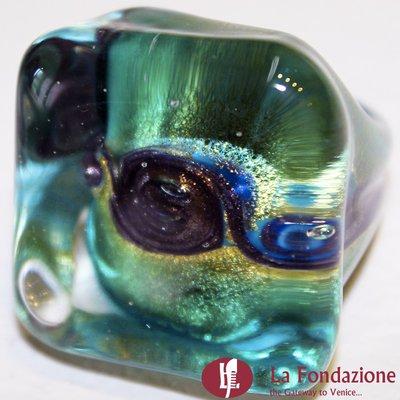 Anello Cubo Acquario Glaciale verde acqua in vetro di Murano fatto a mano
