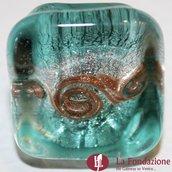 Anello Cubo Acquario Glaciale turchese in vetro di Murano fatto a mano