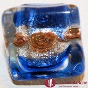 Anello Cubo Acquario Glaciale blu in vetro di Murano fatto a mano