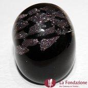 Anello a fascia Avventurina Rotta nero in vetro di Murano fatto a mano