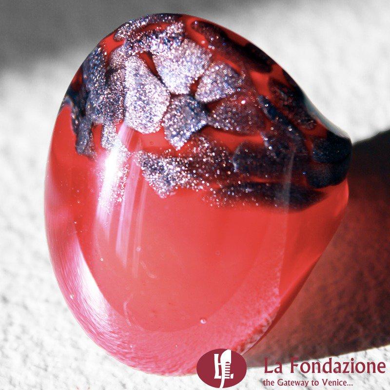 Anello a fascia Avventurina Rotta rosso in vetro di Murano fatto a mano