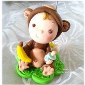 Bomboniera portafoto nascita Battesimo scimmietta animale