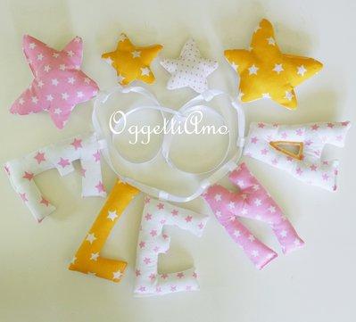 Elena: ghirlanda di lettere in cotone per una decorazione in stoffa per la cameretta