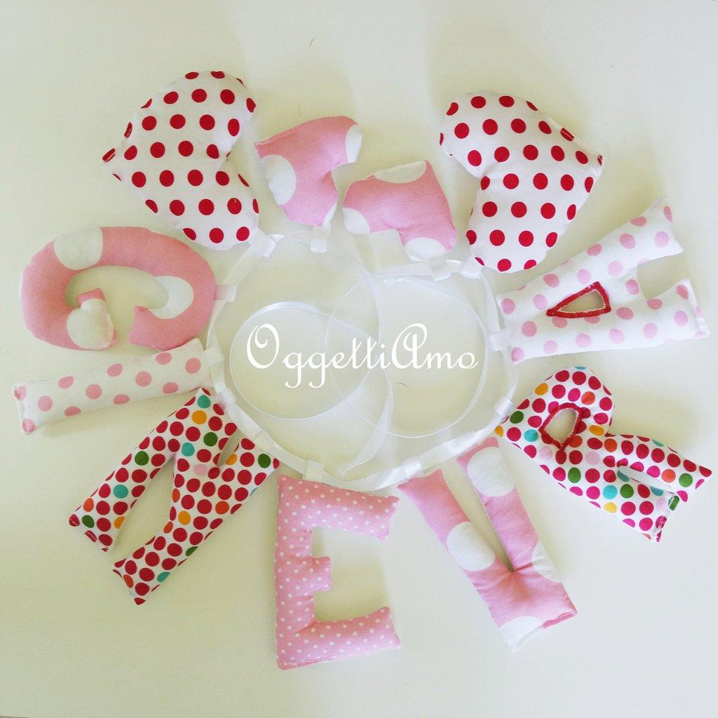 Ginevra: una ghirlanda di lettere rosse e bianche per decorare la sua cameretta!