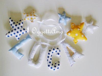 Luca: una ghirlanda di lettere blu, celeste e gialle per decorare la cameretta del tuo bambino!