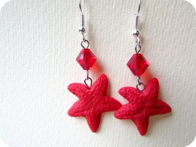Orecchini Stella Marina in Fimo colore Rosso