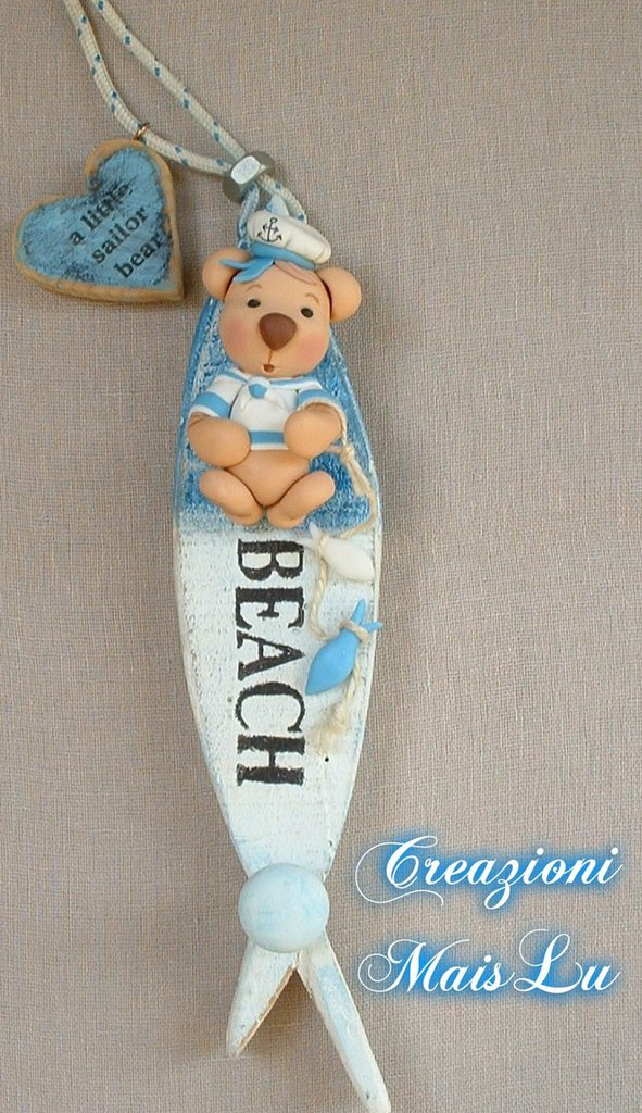 Appendino A Little Sailor Bear in pasta di mais