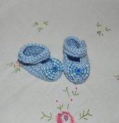 SCARPETTE bimbi realizzate ad uncinetto cotone 100% azzurre con fiocchetto