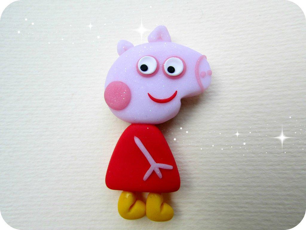 Magnete Peppa Pig in Fimo Fatto a Mano