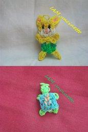 Coniglio giallo e mini tartaruga rainbow loom