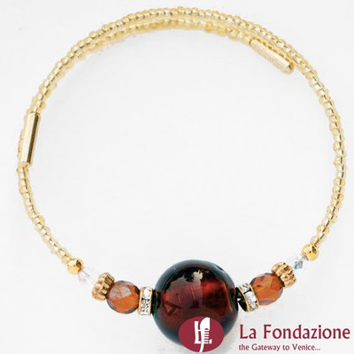 Bracciale Armonico Ambra in vetro di Murano fatto a mano