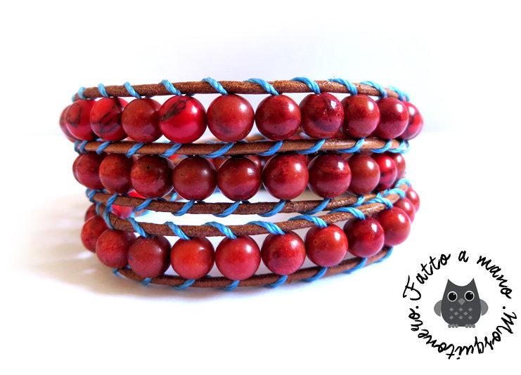 Bracciale Wrap bracelet mychau 3 giri Chan Luu Style donna pietra rossa cuoio naturale