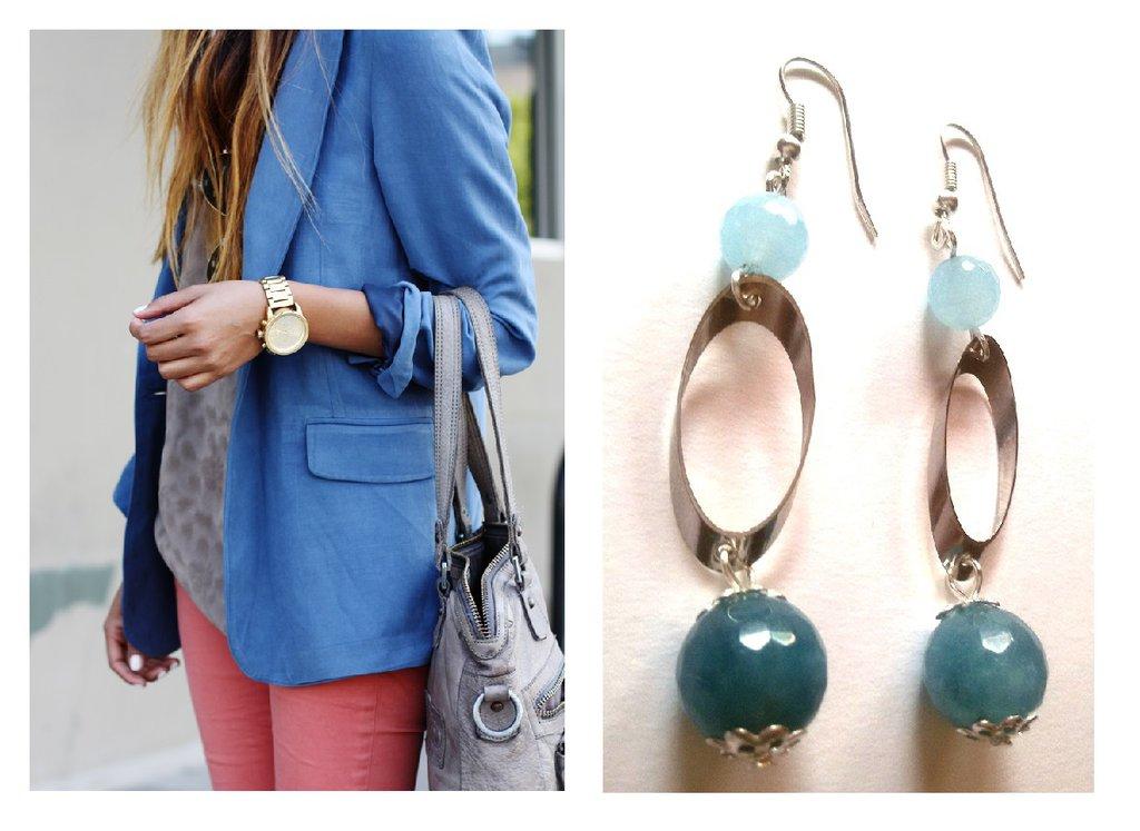 """Orecchini """"Blue oval agate"""" agata azzura/blu con elementi argentati"""