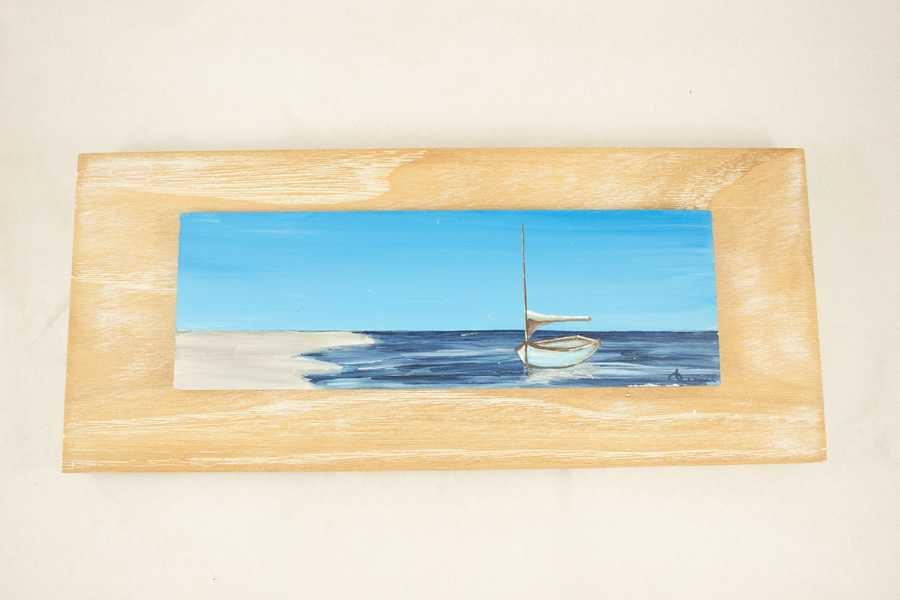 Barche dipinte su  legno di castagno