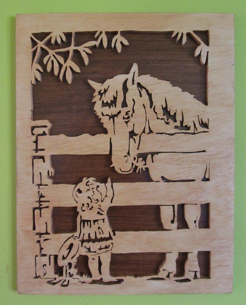 Quadro bimba con cavallo in traforo