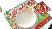 set  4 tovagliette americane patchwork multicolore verde, rosso, giallo, rosa