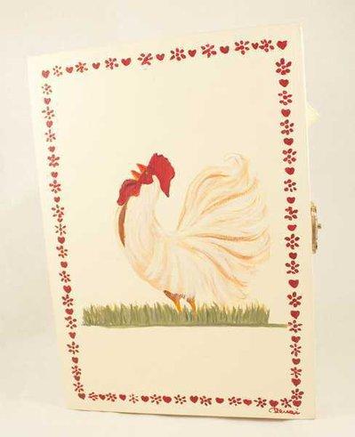 Portachiavi da appendere con gallo dipinto a mano
