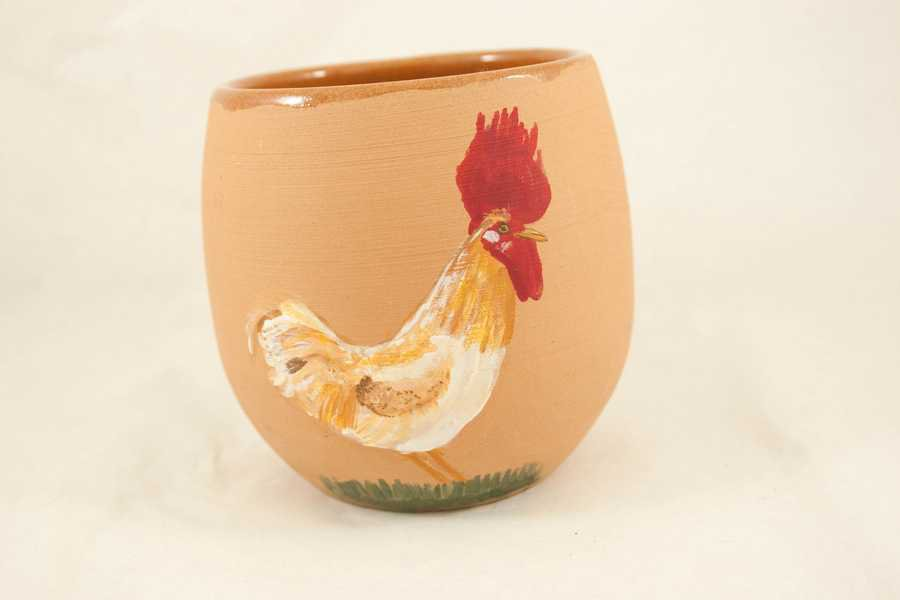 Vasetto in terracotta con gallo dipinto  a mano