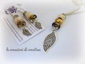 Collana lunga con foglia pendente e perle oro in stile Pandora + Orecchini abbinati