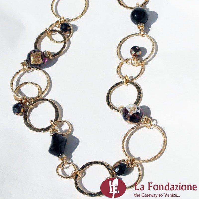 Collana Catenata Ametista in vetro di Murano fatta a mano