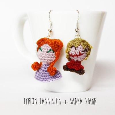 """Orecchini amigurumi uncinetto Tyrion Lannister e Sansa Stark da """"il Trono di Sapde"""""""