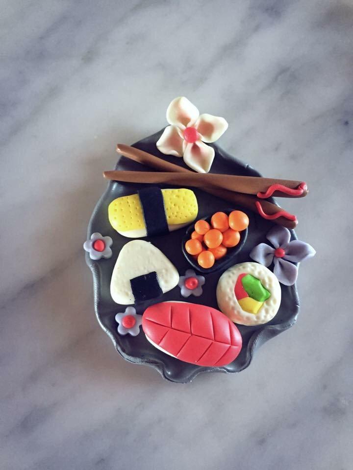 Calamita vassoio Sushi fimo