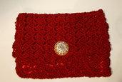 Borsa pochette borsello rosso uncinetto con tracolla romantica shabby chic