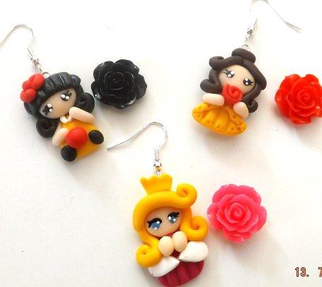 SALDI!!In offerta tre paia di orecchini delle principesse  in fimo idea regalo!!