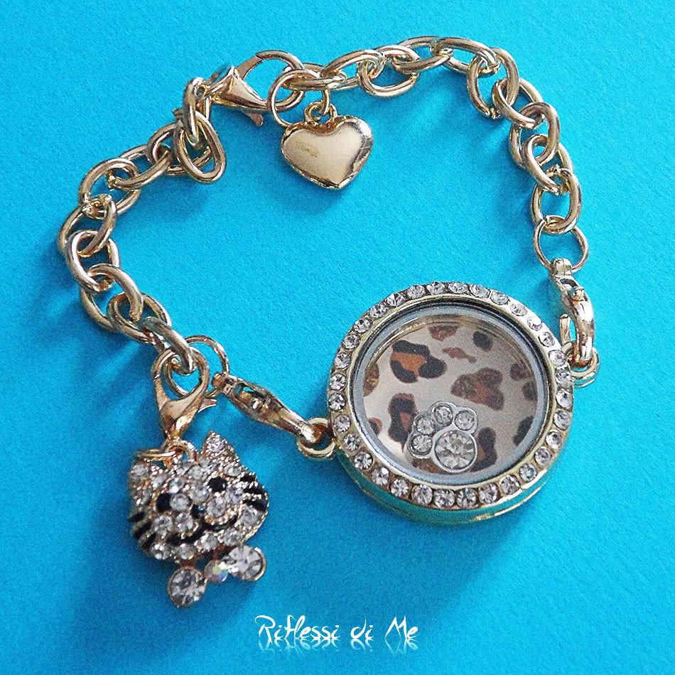 """Bracciale """"Leopard chic"""" con medaglione in vetro e strass, charms e ciondolo - oro"""
