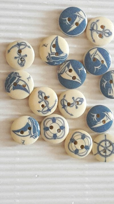 10 bottoni legno stampa marinara 15mm
