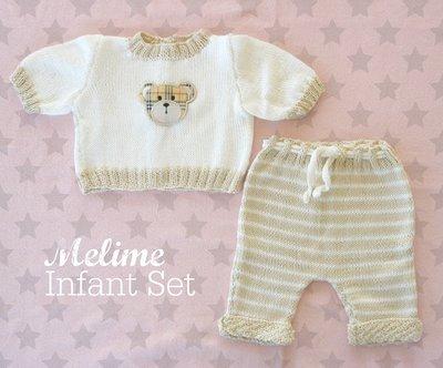 Completino Baby in puro cotone beige e panna con orsetto applique
