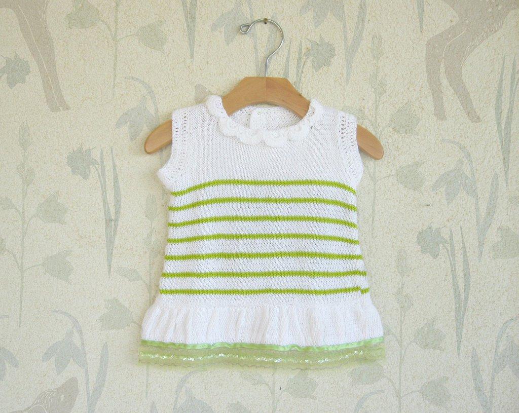 Baby Vestitino in puro cotone Bianco a righine verdi
